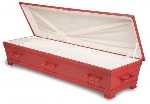 kiste begravelse kantate kardinalrød innside