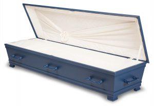 kiste begravelse Kantate skagerrakblå innside